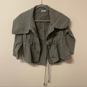 Hang Ten 3/4 Sleeves Army Green Military Jacket